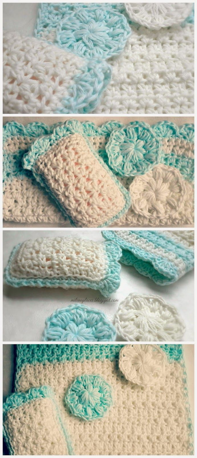 My place...s: Bright Spa Set | CROCHET The Wednesday Link Party ...