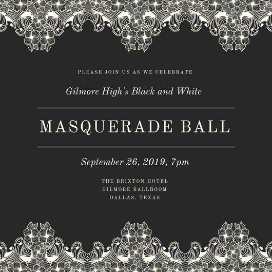 Black and White Fancy Masquerade Invitation Heard City - fancy invitation templates