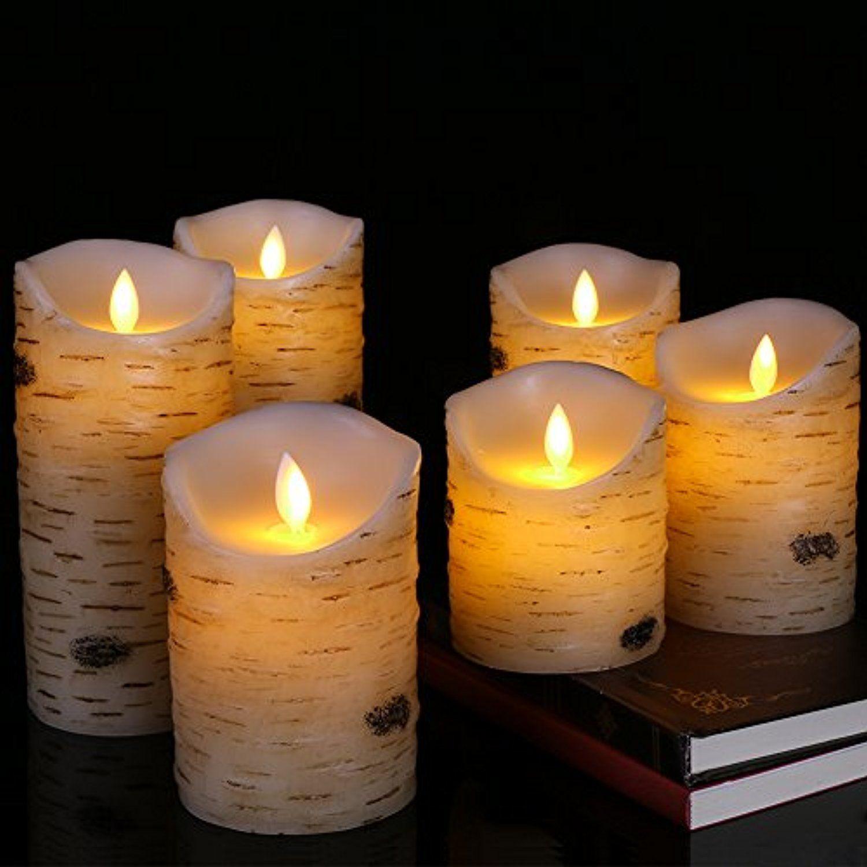 Flameless Led Candles Flickering Light Pillar Real Birch Bark Wax