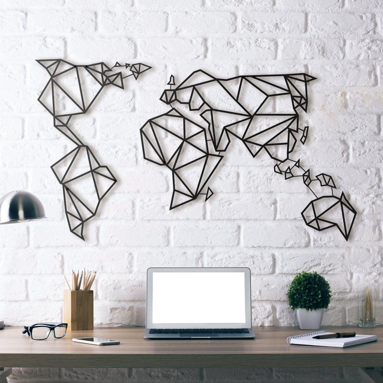 World Map Metal Wall Art Wall Decor Living Room World Map Wall