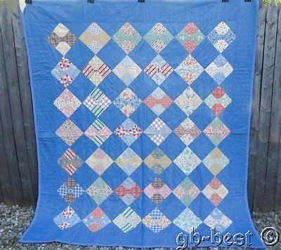 July Prime Sale! Blue 1930s Bow Tie Antique QUILT 83 x 72 ... : feedsack quilts for sale - Adamdwight.com
