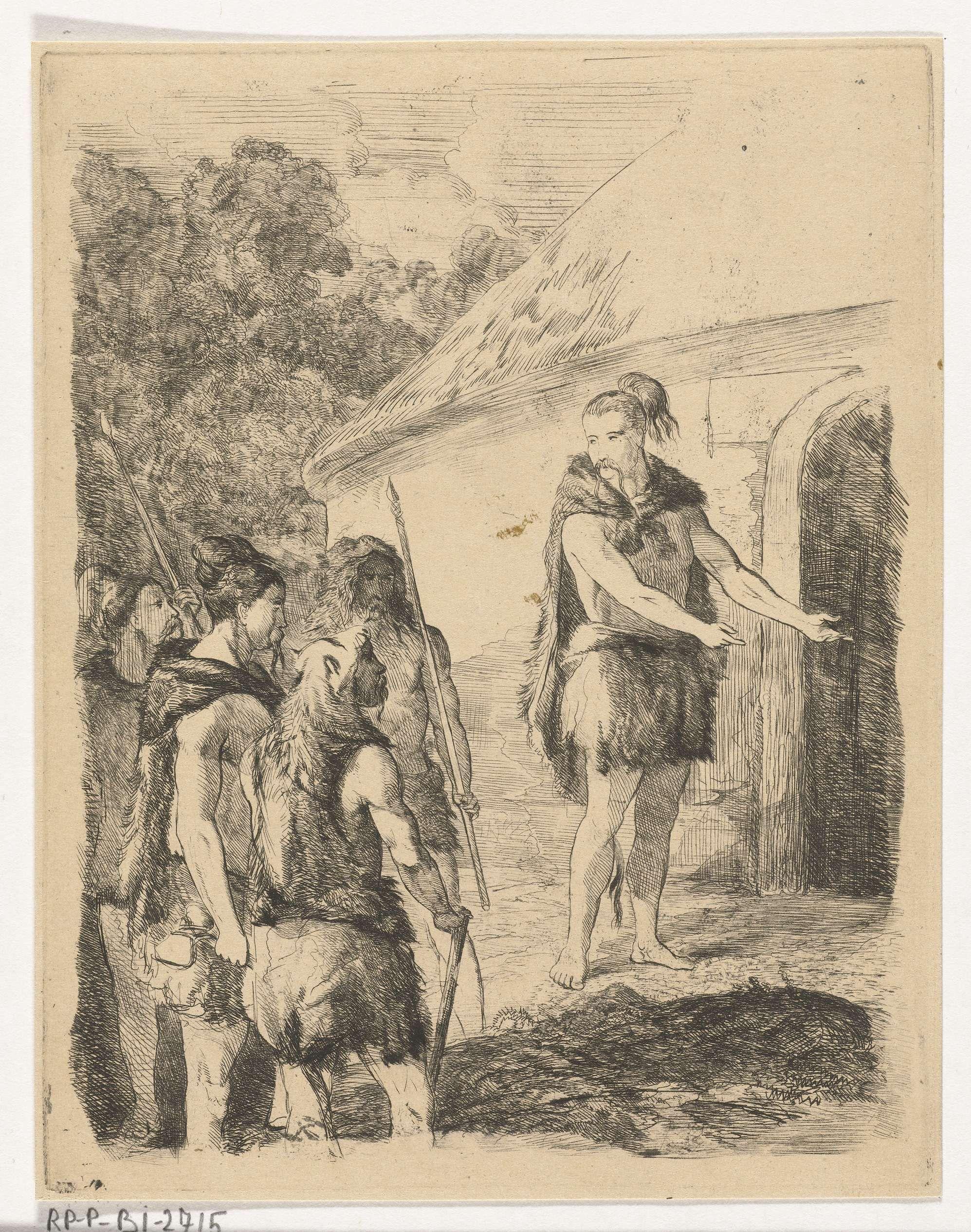 Karel Frederik Bombled   Kaibar gastvrij ontvangen door Borgar, Karel Frederik Bombled, 1852 - 1902   Een Keltische hoofdman, Borgar, gekleed in vellen, verwelkomt de stam van Kaibar in zijn woonstee. Twee van de vier mannen hebben speren vast en kunnen beschouwd worden als voortekens voor het latere verraad van Kaibar. Illustratie bij de negende zang van het episch lofgedicht Aeddon.