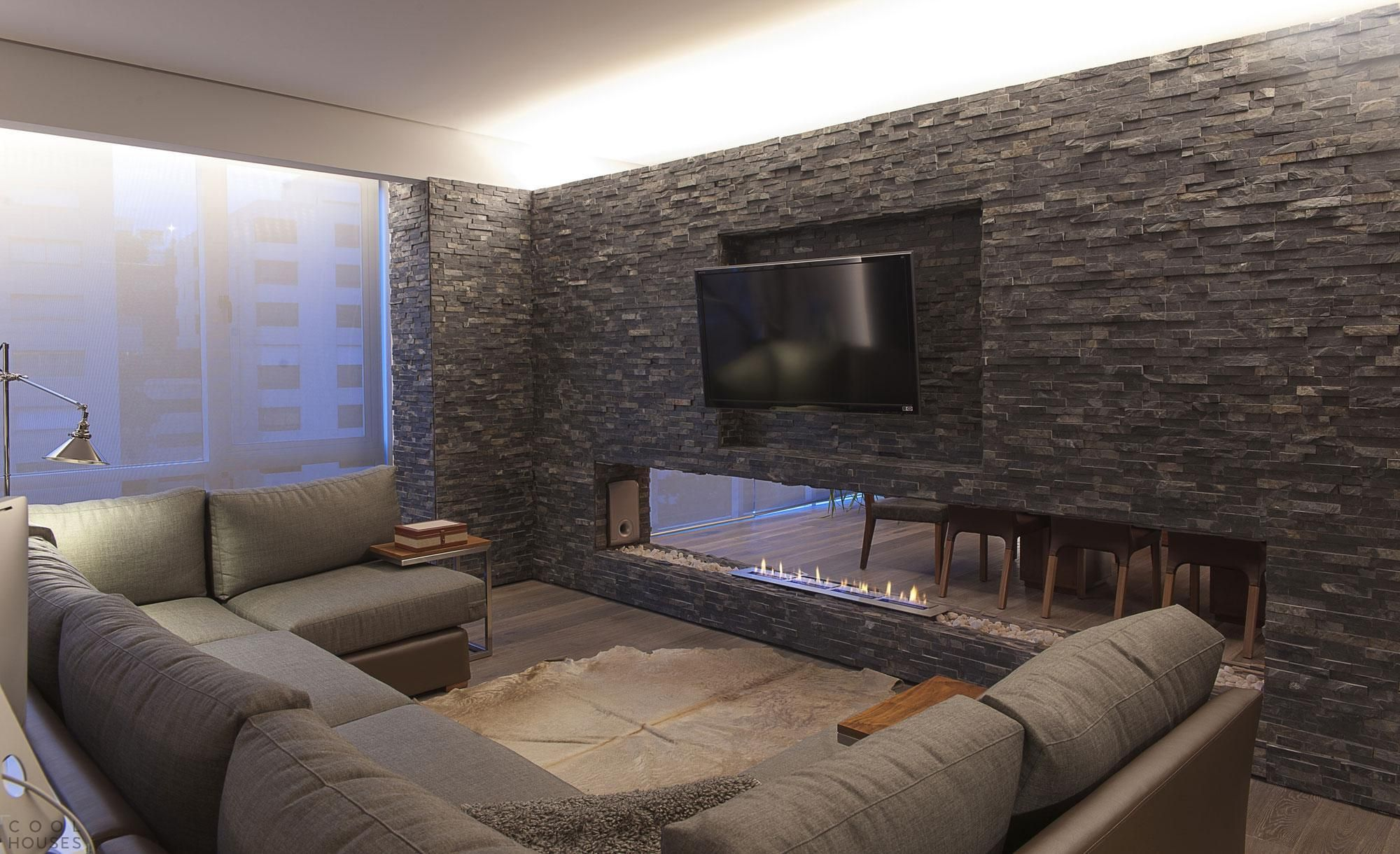 Awesome Design Of An Exposed Natural Stone Wall Panel With