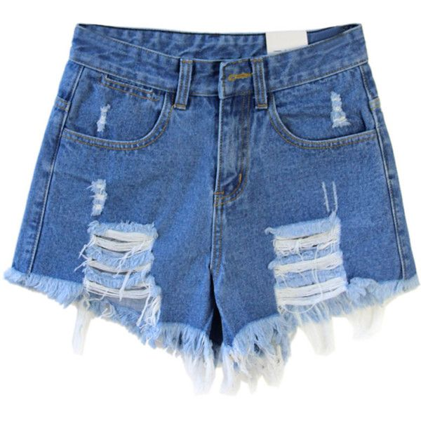 c4cb4ddc2b8 Choies Dark Blue Loose High Waist Ripped Denim Shorts (€19) ❤ liked on Polyvore  featuring shorts