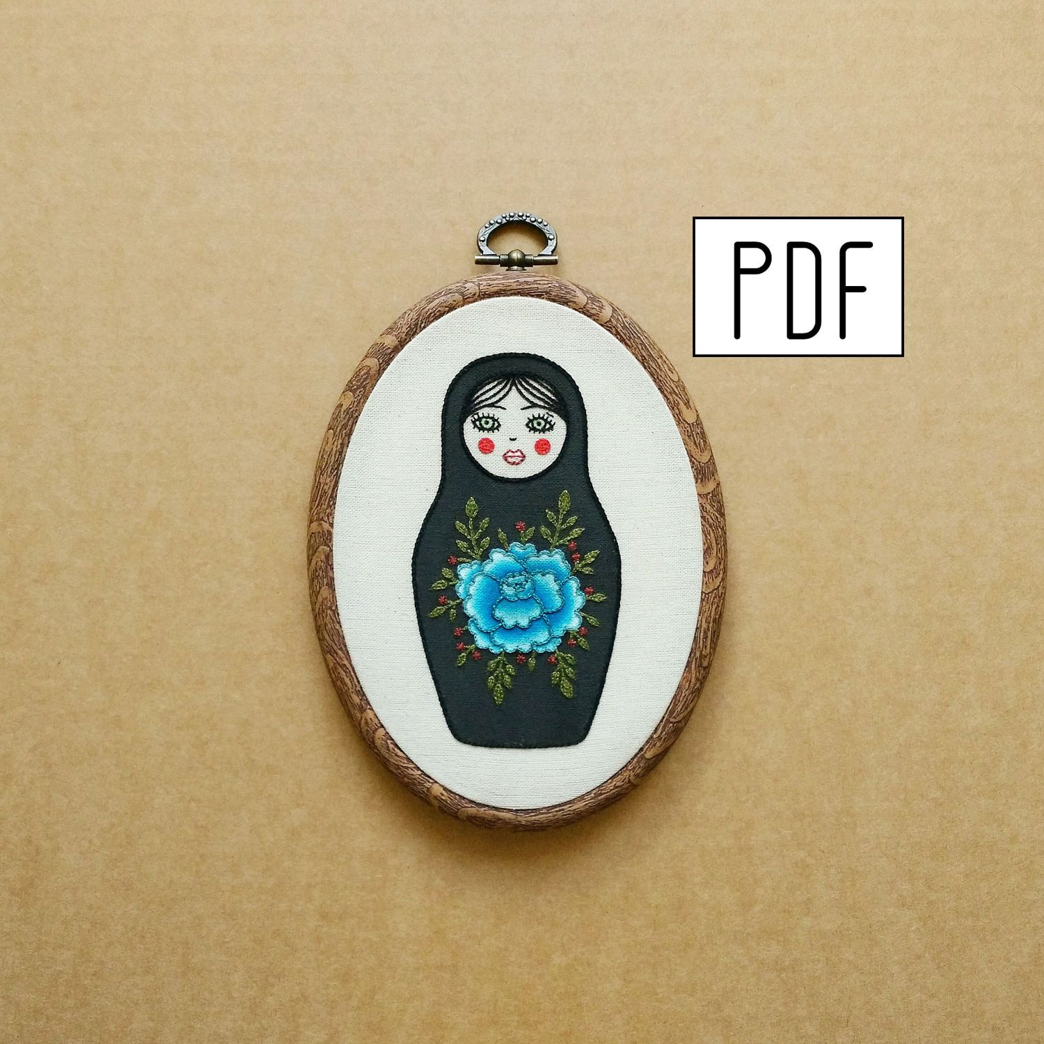 Matryoshka Doll with Flower Details Hand Embroidery Pattern (PDF ...