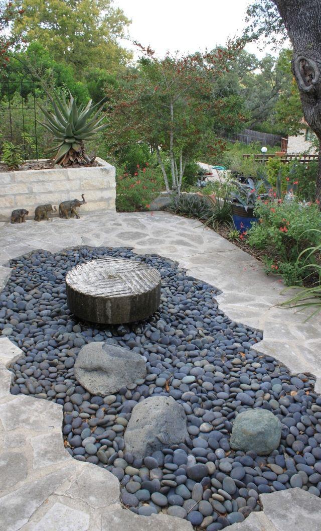 gartengestaltung steine ideen kies brunnen trittsteine platten - garten brunnen stein ideen