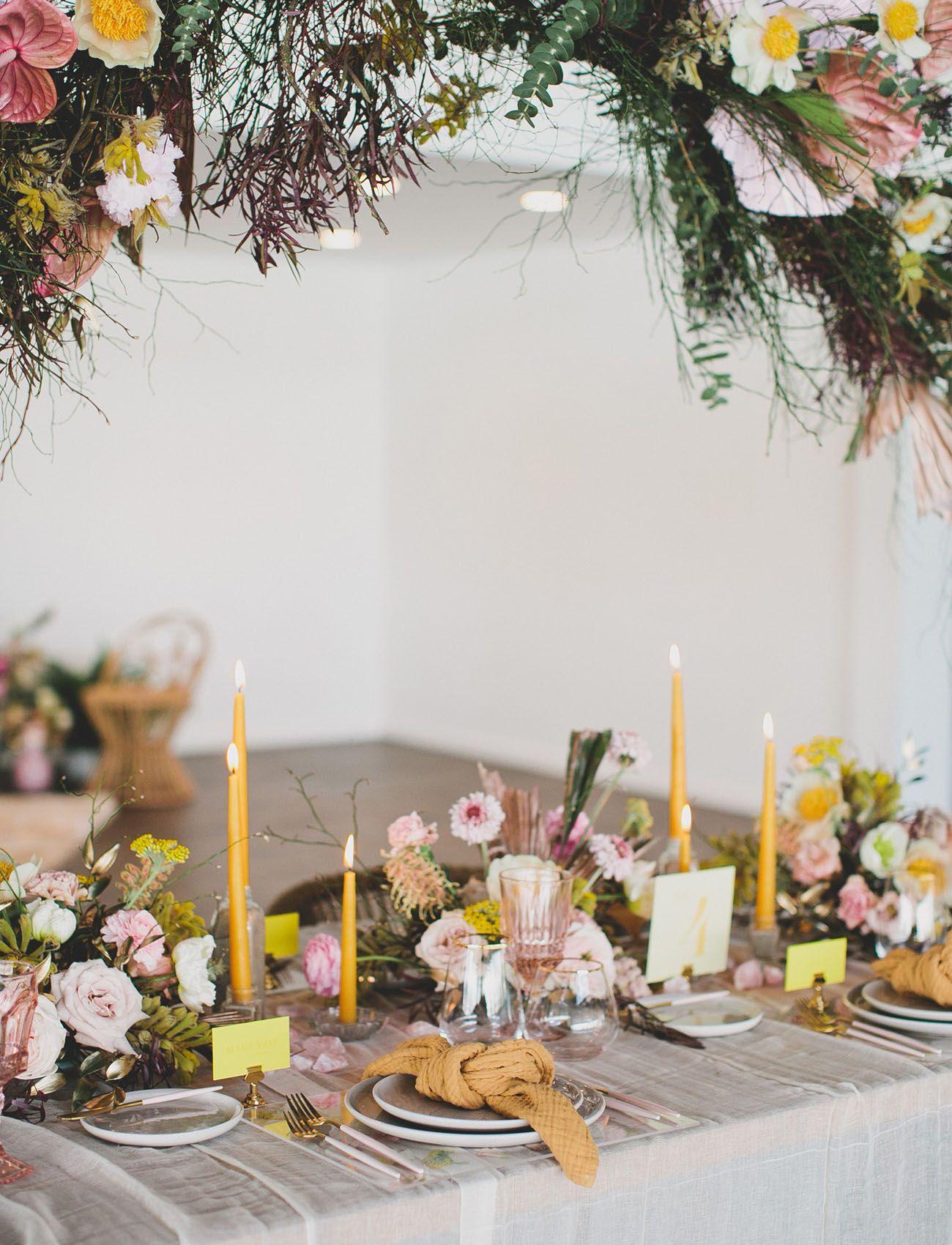 Wedding decorations yellow and gray  Gen Z Yellow Wedding Inspiration Gold Pink Mustard Yellow Gray