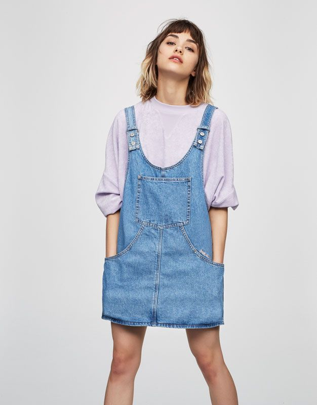 599588de9 Pull&Bear - woman - clothing - best sellers ❤ - denim pinafore dress - pale  blue - 05394301-V2017