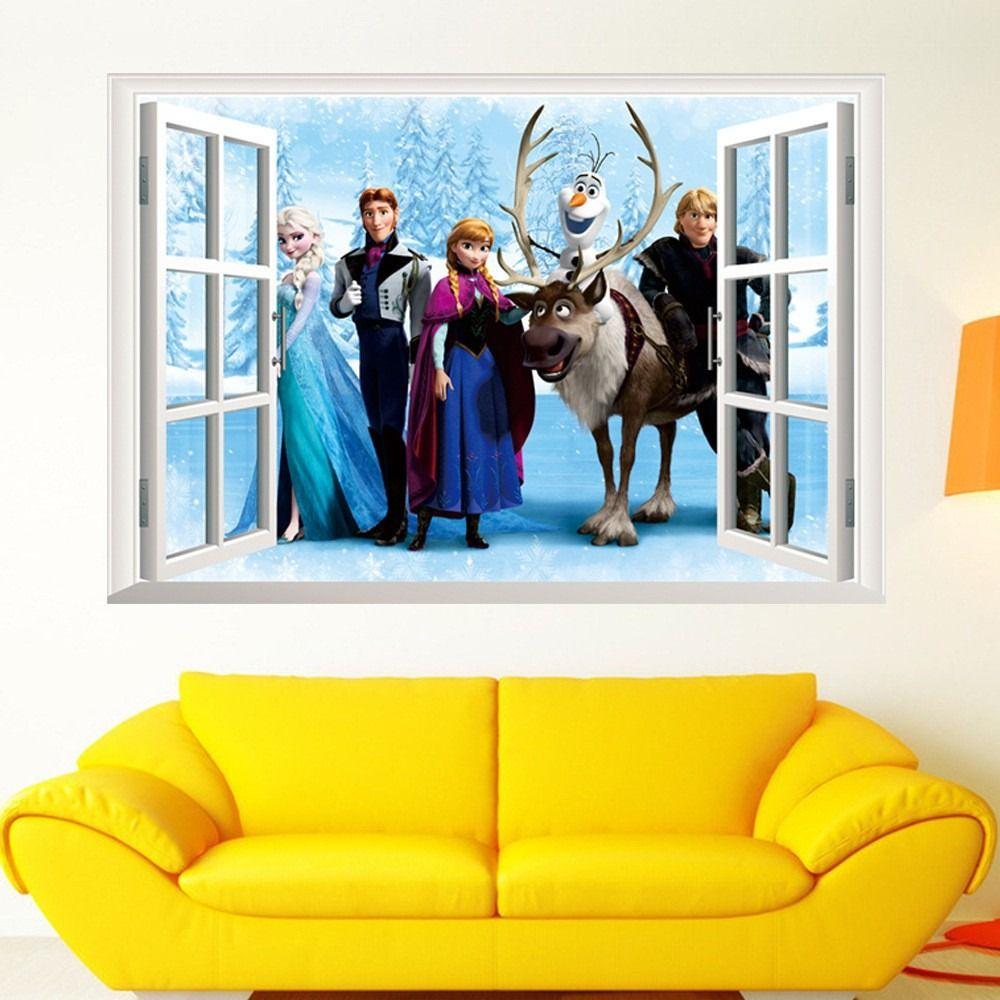 Faixa Frozen 3d Adesivo Papel Parede Infantil Bebe 60×45 R 29  ~ Quarto De Bebe Parede Com Poster Decoração Quarto