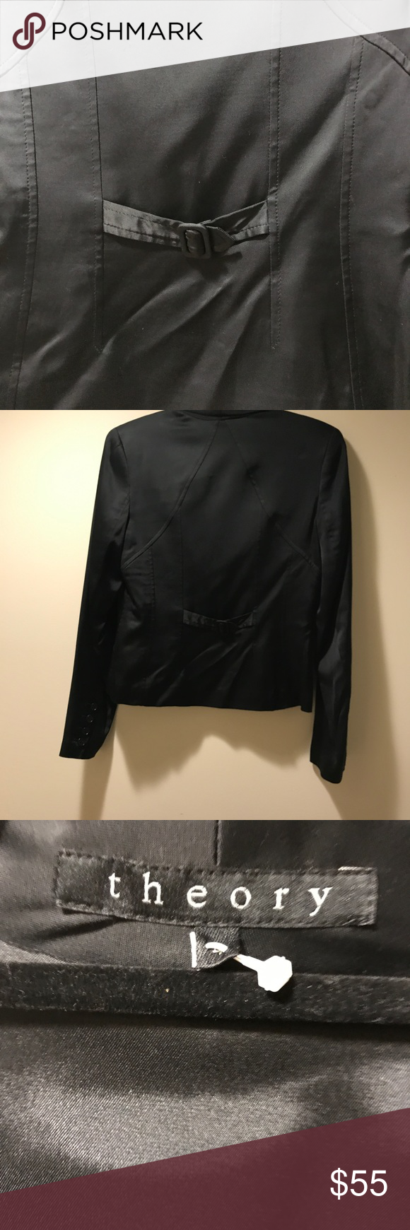 Theory 100% silk black jacket. Theory 100% silk black jacket.  Size - Small. Perfect for formal or informal gathering. One single button to the front. Jacket has unique bacon. Like new Condition. Theory Jackets & Coats Blazers