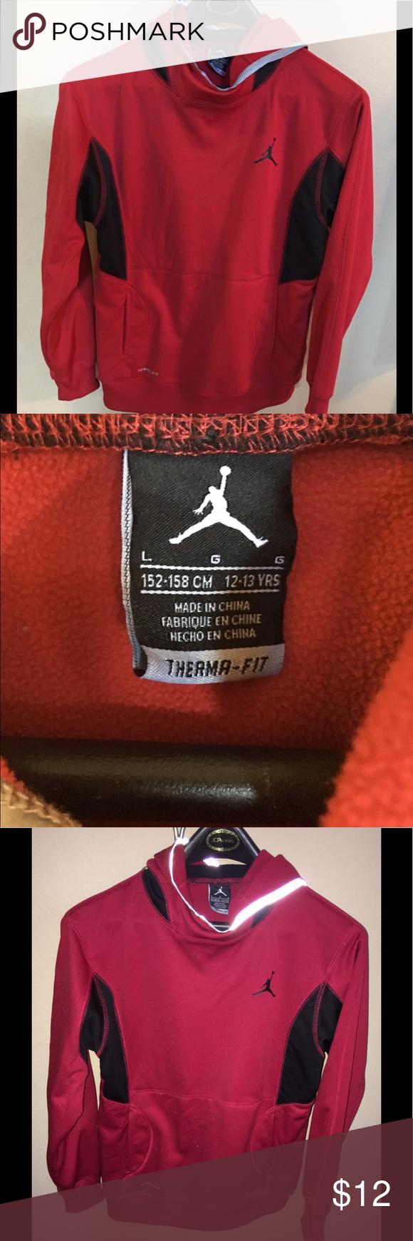 Boys Juniors Red ThermaFit Hoodie Jordan Logo L Boys