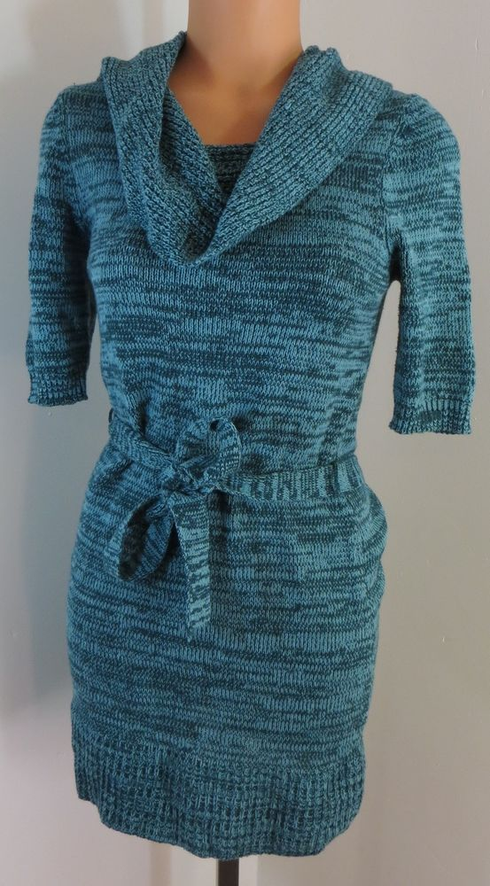 """MUDD"" GREEN COTTON BLEND COWL NECK SWEATER DRESS - PLEASE SEE ALL PICTURES #MUDD #SweaterDress"