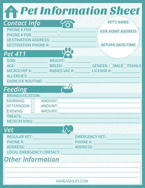 Free Printable Pet Sitter Info Sheet From Haveashley Com Dog Walking Business Pet Sitting Business Pet Sitters