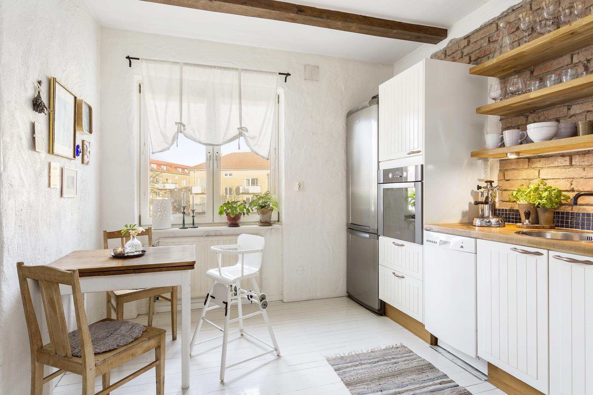 Ciepla Cegla Kuchnia Zamknieta Z Kacikiem Jadalnym Kitchen Dining Room Home Home Decor