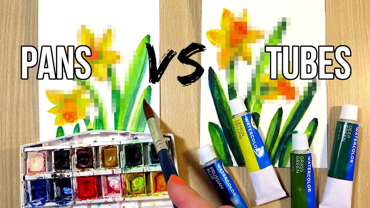Tube Vs Pan Watercolors Same Artwork Two Mediums Tube Vs Pan