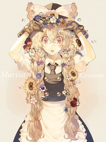 Anime Picture With Touhou Kirisame Marisa Pig Ggul Long Hair Single Tall Image Open Mouth Blonde Red Eyes Fringe Standing Flower Braid Braids