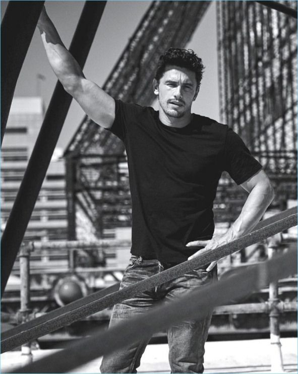 Taking to a roof top James Franco wears a Giorgio Armani t-shirt with Fabric Brand & Co. denim jeans.