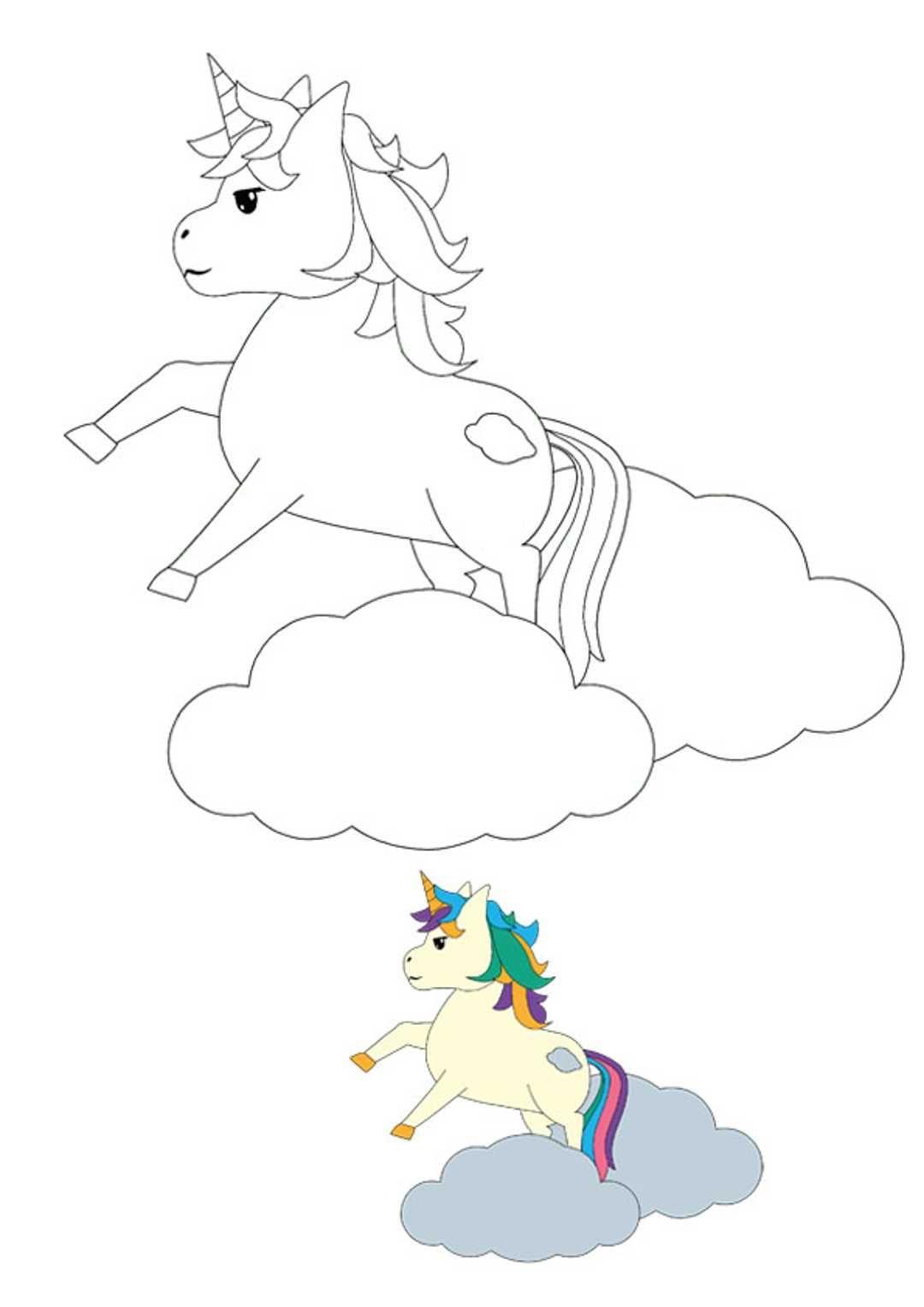 Jumping Unicorn Coloring Page Actividades