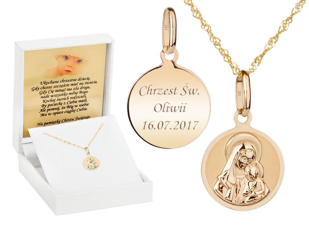 Zloty Medalik Z Lancuszkiem Z Matka Boska Z Dzieciatkiem Pr 585