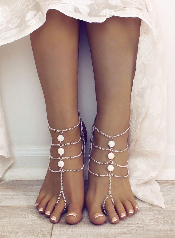 d6cb073c78c White Bohemian Barefoot Sandals Foot Jewelry white Anklet Bridesmaids Gift Beach  Wedding Sandals Bar