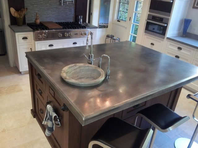 Zinc countertop on kitchen island photo source www for Zinc kitchen countertop