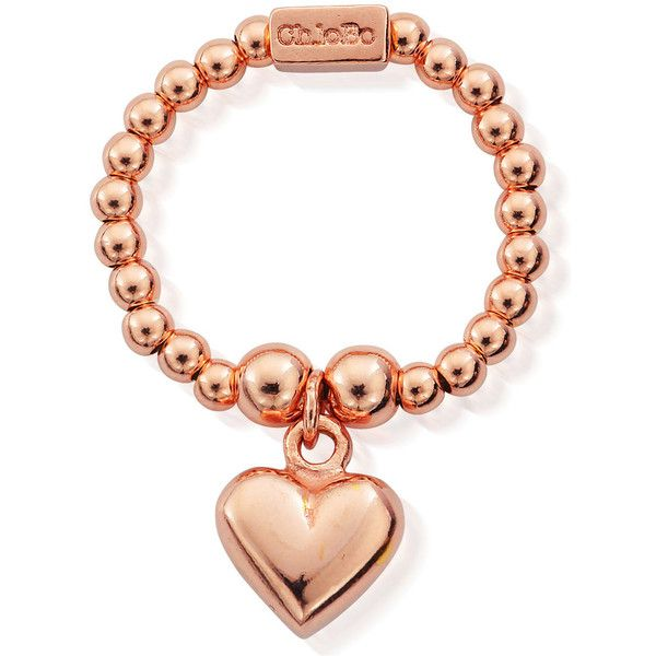 ChloBo Mini Ball Ring With Puffed Heart Rose Gold $72 ❤ liked