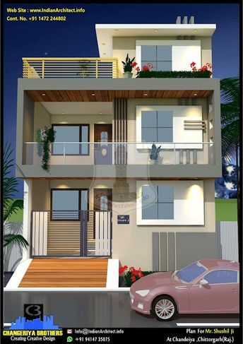 P506 3BHK Modern House Plan With Elevation 25 X49 = 1225 Square Feet 113 86 Square Meter