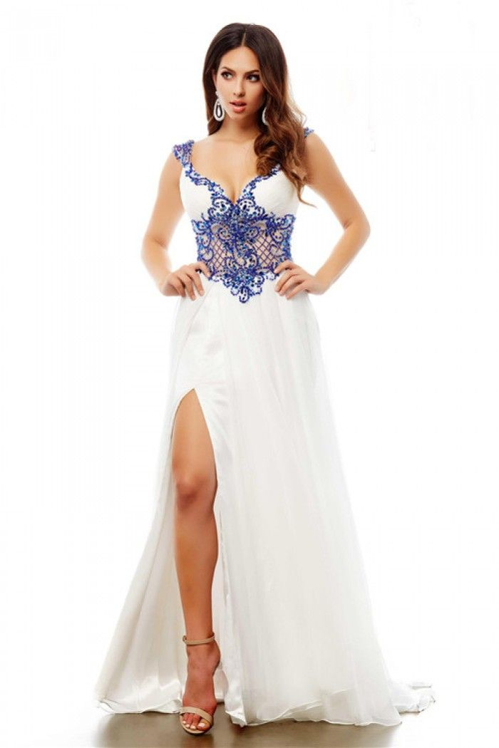 Long White Chiffon Royal Blue Beaded See Through Prom Dress With ...