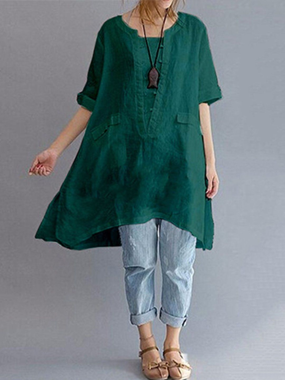 Plus Size Women/'s Casual Mini Dress Asymmetrical Loose Blouse Shirt Dress Tops.