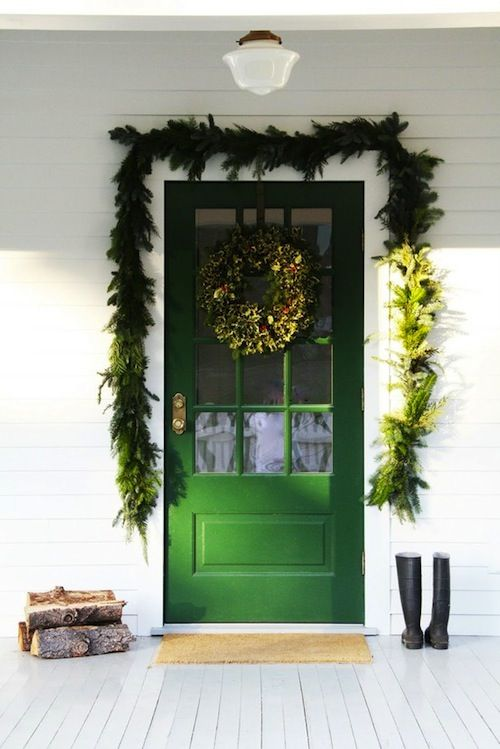 I Love The Use Of Green Surrounded By White This Photo Could Easily Be Translated Into Wedd Outdoor Christmas Decorations Green Front Doors Outdoor Christmas