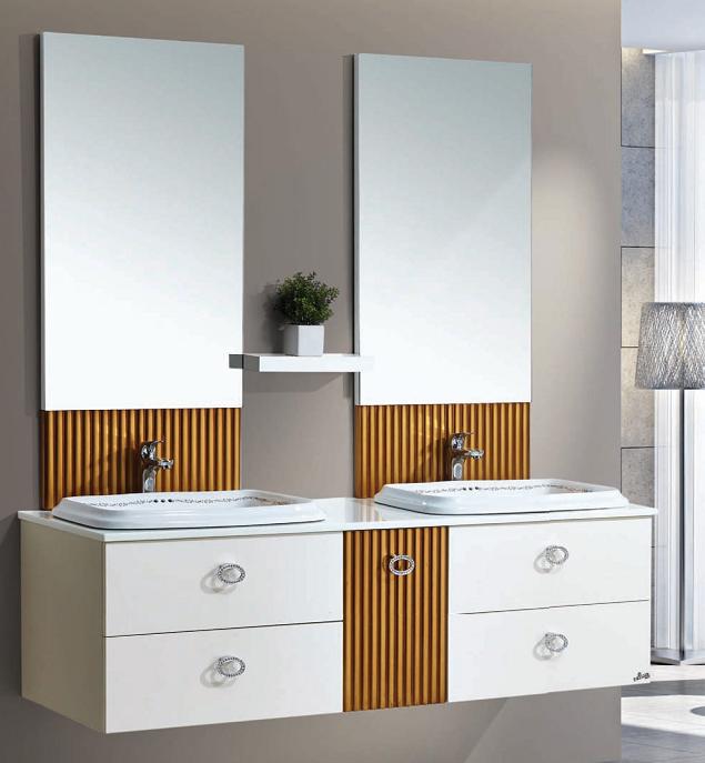 Antique Style Oak Wood Bathroom Furniture Ceramic Single Sink