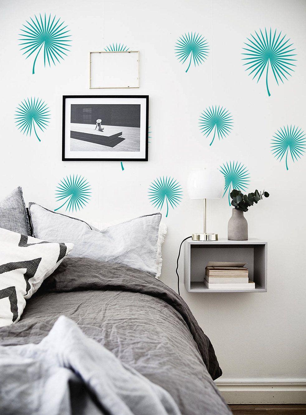Flower Wall Decals Modern Leaves Vinyl Tropical Leaf