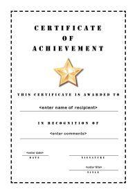 Free Printable Certificates Of Achievement A4 Portrait Stencil