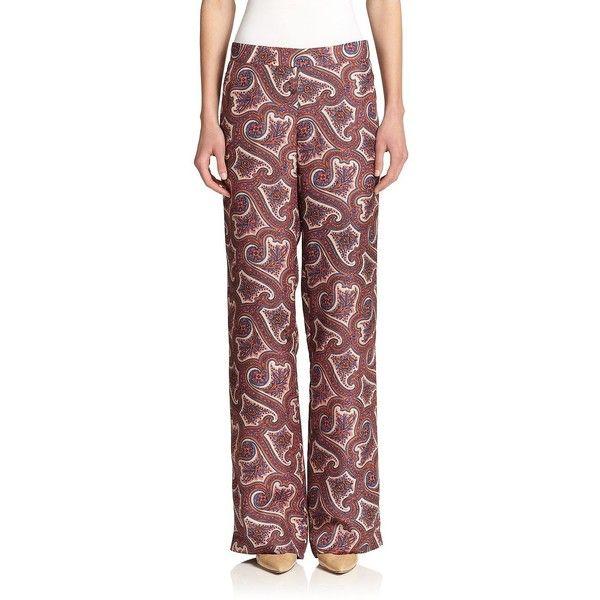Theory Mitrana Printed Silk Pants (480 AUD) ❤ liked on Polyvore