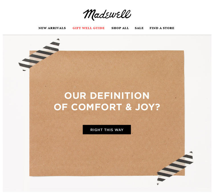 Madewell Mystery Offer Email Marketing Design Holiday Email