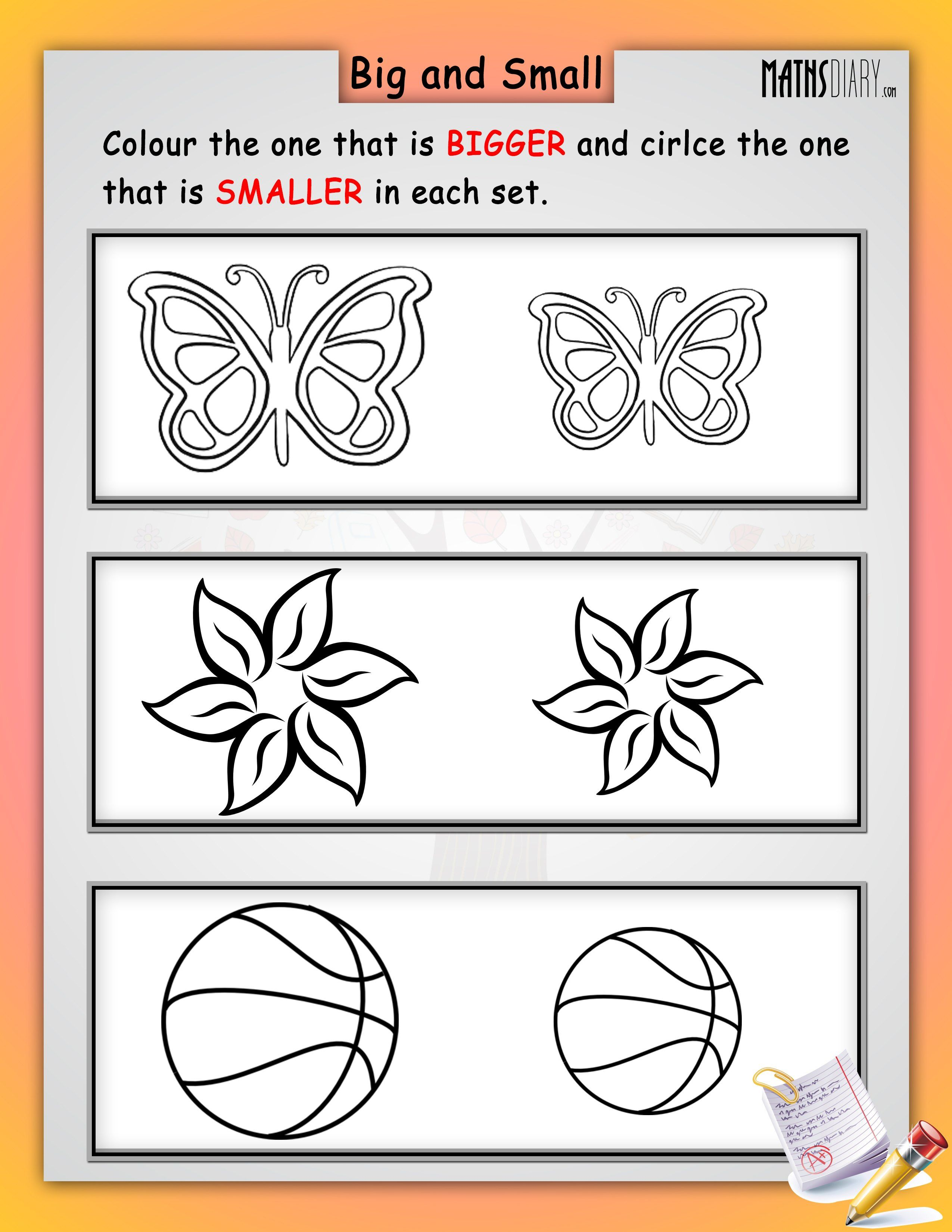 Image Result For Circle The Big And Colour The Small Worksheets Math Worksheets Math Worksheets [ 3300 x 2550 Pixel ]