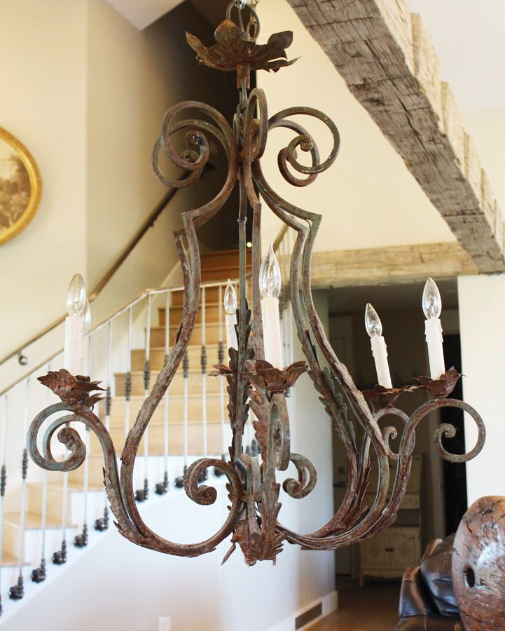 French Xlrg Antique Wrought Iron Chandelier Wrought Iron