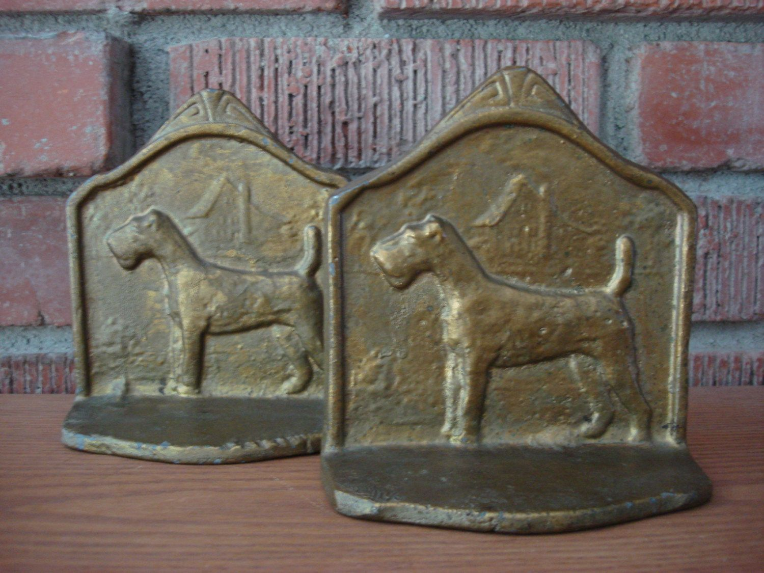 Antique Metal Schnauzer Dog Bookends, Early 1900\'s Pair of Gold ...