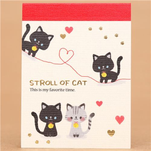 kawaii cat heart gold embellishment mini Note Pad Kamio