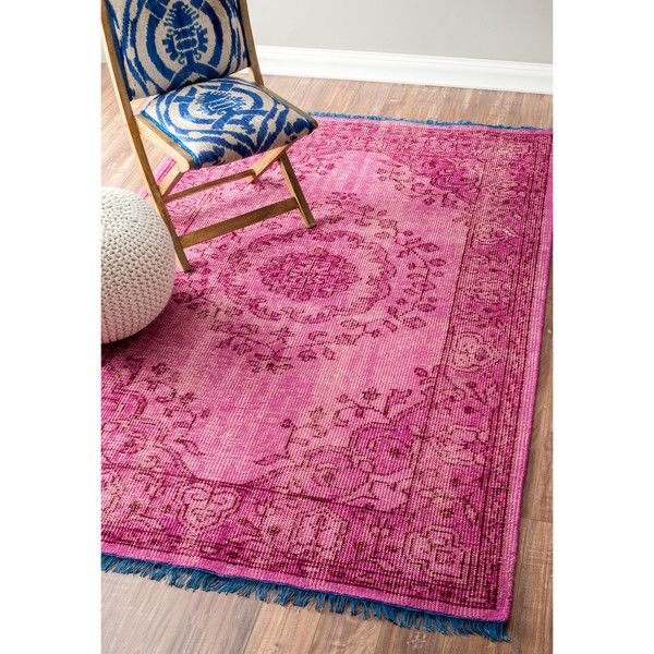 NuLOOM Hand Knotted Vintage Wool Pink Rug 337 Liked On