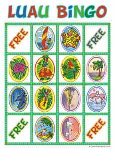 luau bingo card 7 231x300 Luau Party Ideas and Free Luau Bingo Game