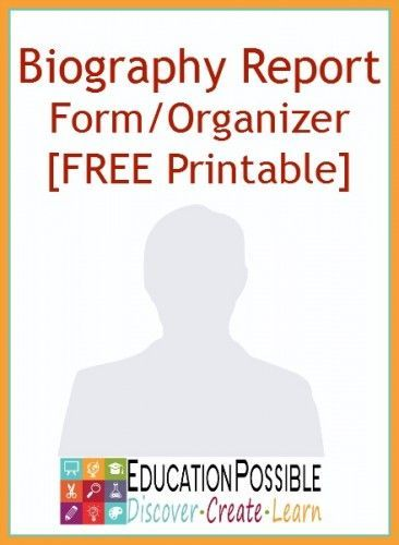Biography Report Form Template and Organizer Writing lessons - biography report template