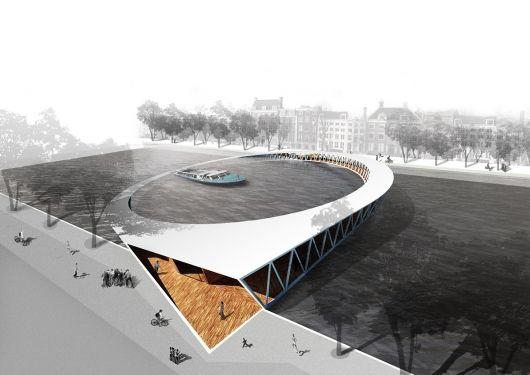 Winners of the Amsterdam Iconic Pedestrian Bridge Competition, 1st Place: Nicolas Montesano, Victor Vila & Boris Hoppek (Spain)
