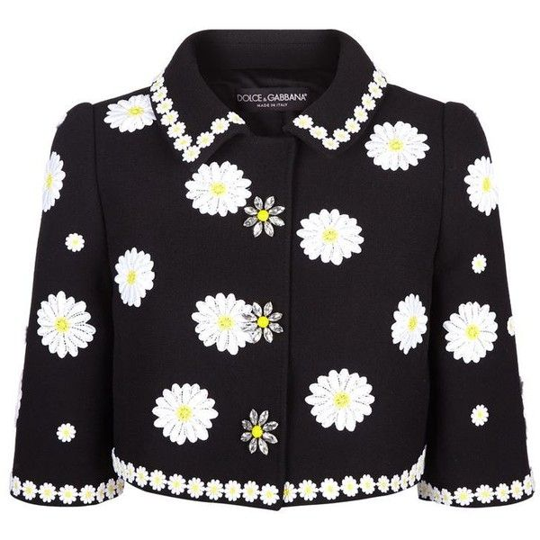 Dolce & Gabbana Daisy Appliqué Cropped Jacket ($2,360) ❤ liked on Polyvore featuring outerwear, jackets, embroidered jacket, embellished jacket, cropped jacket, cropped wool jacket and floral jacket