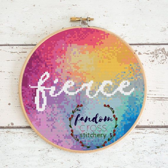 Rainbow 'Fierce' Cross Stitch PDF Pattern | Subversive Modern Cross Stitch | Rainbow Cross Stitch Pa