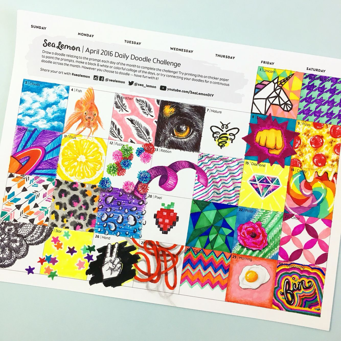 30 Day Doodle Challenge Click The Pic For A Free Printout Great Creative Exercise