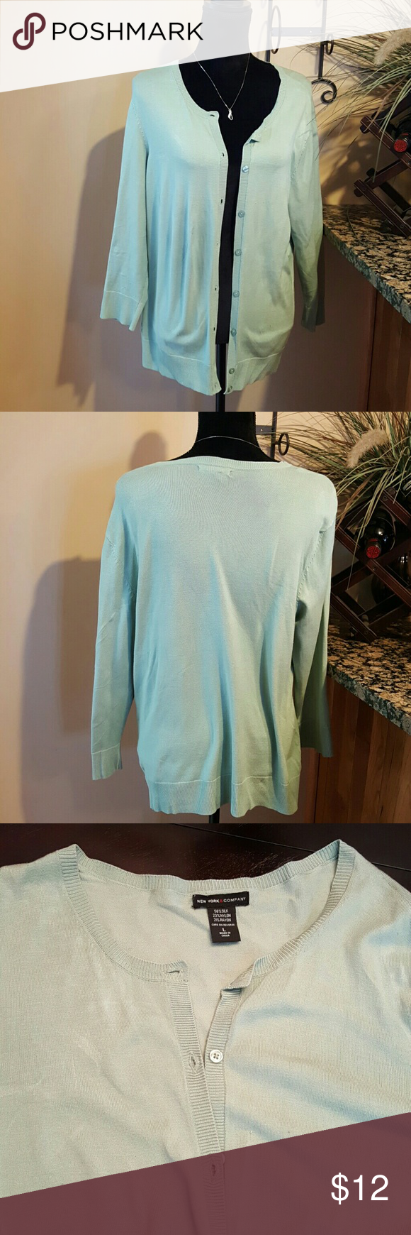 NY&Co Cardigan Sweater Light green button up ribbed cardigan. New ...
