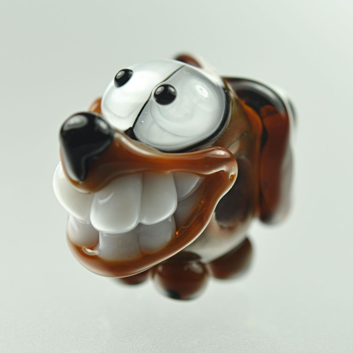 Brown Dog Big Hole Bead - Brown and White - Handmade Lampwork by Puddy Tat Glass. $25.00, via Etsy.