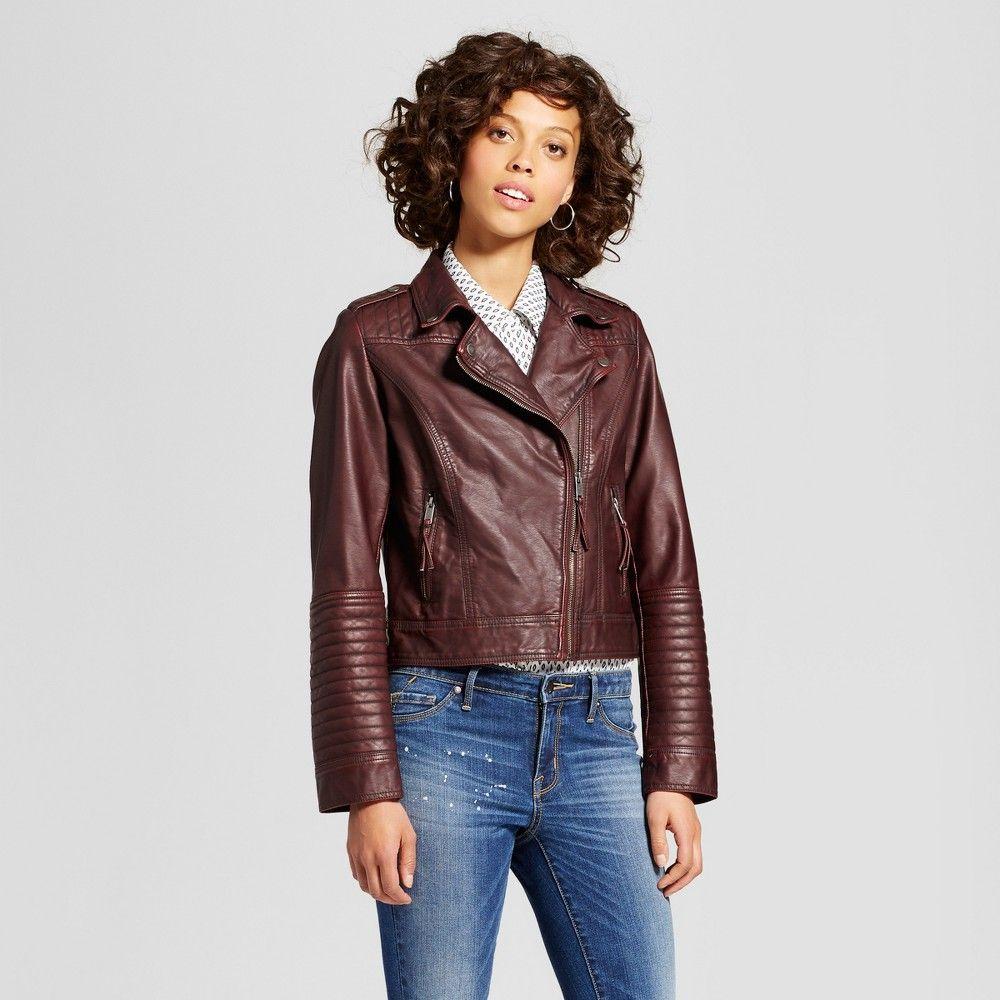 4f72aec933c4d Women's Faux Leather Moto Jacket - Xhilaration Burgundy (Red) S ...