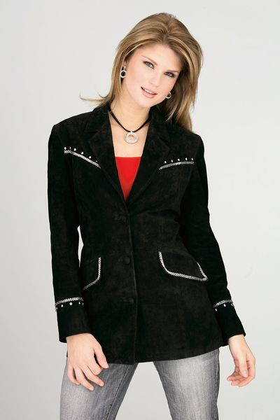Rusty Spur Couture Cripple Creek Black Metallic Hand Beaded and Studded Boar Suede Jacket - LL296, ,